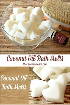 Next time you take a bath pop one of these nourishing coconut oil bath melts into your bath! Your skin will feel softer than a baby Coconut Oil Beauty, Coconut Oil For Face, Pure Coconut Oil, Coconut Oil Uses For Skin, Coconut Oil Soap, Trash To Couture, Fondants Pour Le Bain, Homemade Coconut Oil, Diy Bath Salts With Coconut Oil