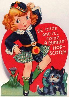 TARTAN : Vintage Scottish Valentine.