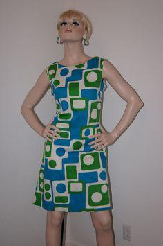 Vintage 60s Mod Geometric Shift Dress - M L
