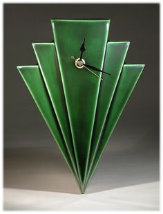 Echo of Deco British Art Pottery Racing Green Manhattan Wall Clock