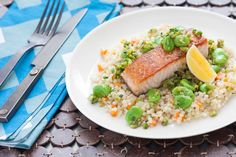 Pan-Seared Salmon over Whole Wheat Israeli Couscous with Fava Bean-Olive Relish Salmon Pasta, Pan Seared Salmon, Fava Beans, Cooking Recipes, Healthy Recipes, Couscous, Original Recipe, The Fresh