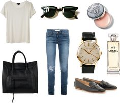 """White T and Blue Denim"" by beliciachung ❤ liked on Polyvore"
