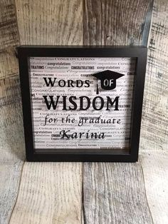 Words of Wisdom for the graduate, personalized graduation, graduate advice, graduation decor, gradua Graduation Words, Graduation Party Foods, Graduation Theme, Graduation Decorations, High School Graduation, Grad Parties, Graduation Gifts, Graduation Ideas, Advice Box