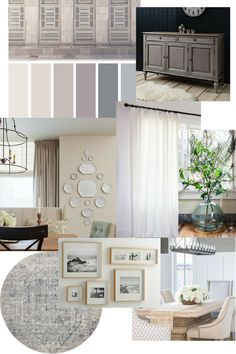 An east coast traditional dining room is planned with a mood board. Updated traditional dining room in taupe and gray from Homestead 128.