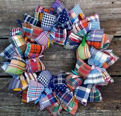 SooBoo Designs first madras plaid wreath has been a Pinterest favorite. Pinned more times than any other wreath I've made. So I decided to create another.  I took a long time to find these patchwork p