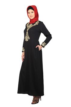 Abaya Muslim Dresses   Gulshan Black Abaya @ Shannoh.com