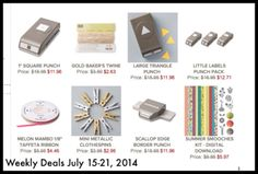 Stampin' Up! on Sale!  Weekly Deals...Sale prices valid through July 21,2014. Lisa Brown, Independent Stampin' Up! Demonstrator www.inkandinspirations.com