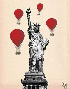 Hot Air Balloon Red Statue Of Liberty Print By Kelly Mclaughlan