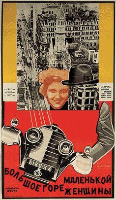 "USSR, film poster. ""Big Mountain Little Woman,"" Artist: Nikolai Prusakov, ca. 1920s."