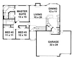 House Plan 62577 - Traditional Style House Plan with 1483 Sq Ft, 3 Bed, 2 Bath, 3 Car Garage Craftsman House Plans, Country House Plans, Best House Plans, Small House Plans, House Floor Plans, Contemporary House Plans, Modern House Plans, Monster House Plans, Traditional House Plans
