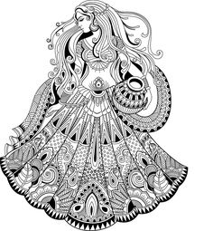 How to Draw a Fashionable Dress - Drawing On Demand Doodle Art Drawing, Illustration Art Drawing, Zentangle Drawings, Mandala Drawing, Pencil Art Drawings, Art Drawings Sketches, Doodling Art, Madhubani Art, Madhubani Painting