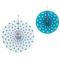 Turquoise Polka Dot Hanging Fans - OrientalTrading.com