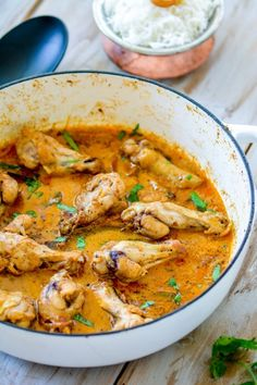Chicken Korma, an aromatic authentic mild Indian Chicken curry cooked with spices, yogurt and a hint of cream, served with fragrant Basmati Rice.. A restaurant-style spiced Indian chicken dinner in...