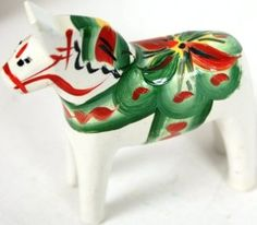 "Amazon.com: Traditional Wooden Swedish Dala Horse - White 2"" (5cm): Home & Kitchen"
