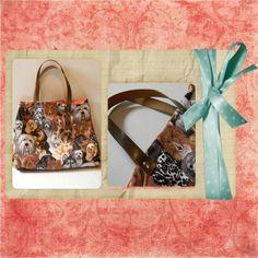 Bolsa em estampa de cachorro com alça em couro ecológico