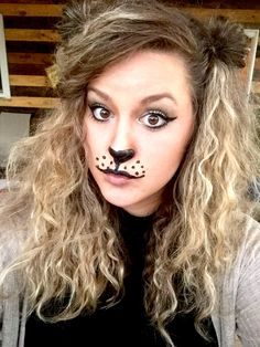 This super easy costume didnu0027t cost me a dime! I teased my hair really big used two mini ponytails to make ears and made a lionu0027s face with eyeliner.  sc 1 st  Pinterest & Lion costume hair and ears   Halloween   Pinterest   Lions Costumes ...