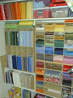 organized . . . vertical fabric is wrapped around comic book boards