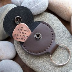 PT Solid copper plectrum engraved with your names or other text. Comes with a leather keyring holder. * More personalised gifts @ Personalised Treasures shop. Xmas Gifts For Dad, Gifts For Father, Guitar Picks Personalized, Personalized Gifts, Copper Gifts, Guitar Gifts, Leather Keyring, Leather Projects, Leather Accessories