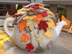 Fall Leaves Tea Cosy by delightful knits, via Flickr