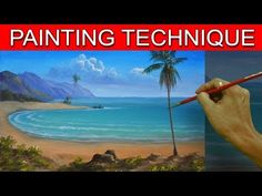 How to Paint a Tropical Beach with Palm Trees in Acrylic by JM Lisondra - YouTube