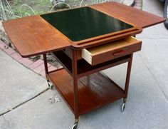 Mid Century Danish Modern Mad Men L. Pontoppidan 1968 Teak Den Permanente Tea Bar Cart