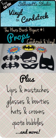 Photo booth props - free cut files and links to more! ~ whatchaworkinon.com