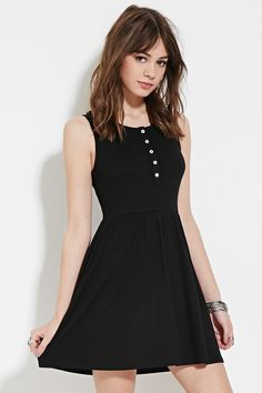 Forever 21 Buttoned Babydoll Dress $18 : A sleeveless babydoll dress crafted from ribbed knit with a partially buttoned front, an elasticized waist, and a mini length.