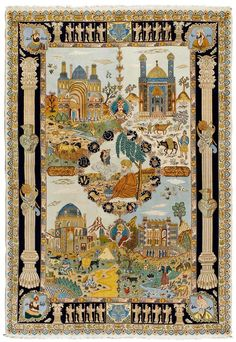 TABRIZ PICTORIAL CARPET.Light blue central field with a central medallion, the…