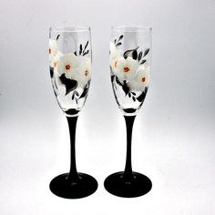 Hand Painted Wine Glasses Black Stems and by PaintedDesignsByLona, $35.00
