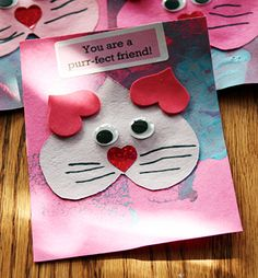 Great, easy valentine card for my 4 year old to make who loves to play kitty!