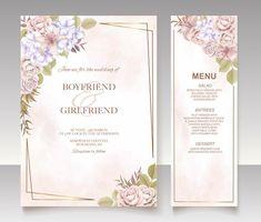 Premium Vector | Elegant floral template wedding card Wedding Invitation Card Template, Wedding Invitations, Wedding Cards, Templates, Elegant, Frame, Floral, Wedding Ecards, Classy