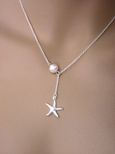 Sterling silver starfish necklace bridal beach gift Beach party necklace Starfish pendant necklace choose chain Silver starfish Necklace