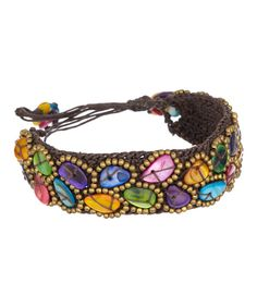 Look at this Brown & Pink Multi-Stone Rope Bracelet on #zulily today!