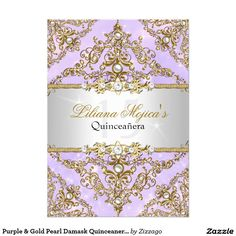 Shop Purple & Gold Pearl Damask Quinceanera Invite created by Zizzago. Diy 1st Birthday Invitations, Bachelorette Party Invitations, Quinceanera Invitations, Halloween Invitations, Pink Invitations, Floral Invitation, Invites, Fall First Birthday, 15th Birthday