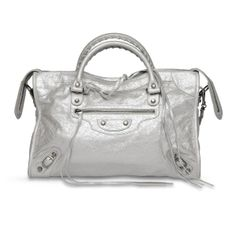 Balenciaga Silver Metallic Classic City Bag   Blue Spinach