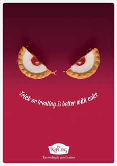 """Trick or treating is better with cake"" 