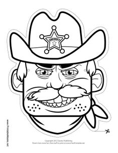 Male Sheriff Mask to Color Printable Mask, free to download and print