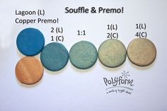 Souffle Lagoon & Copper Premo! polymer clay color recipe by Syndee Holt for Polyform