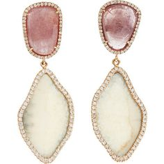 monique pean- pink sapphire and diamond earrings, fabulous color combo
