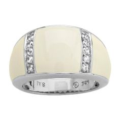 Sterling Silver White Cubic Zirconia with White Enamel Women's Ring Amazon Curated Collection. $61.00. Gemstones may have been treated to improve their appearance or durability and may require special care. The natural properties and composition of mined gemstones define the unique beauty of each piece. The image may show slight differences to the actual stone in color and texture