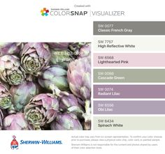 I found these colors with ColorSnap® Visualizer for iPhone by Sherwin-Williams: Classic French Gray (SW High Reflective White (SW Lighthearted Pink (SW Cascade Green (SW Radiant Lilac (SW Obi Lilac (SW Spinach White (SW Pastel Living Room, Pastel Room, Lilac Grey, Green And Purple, Grey Green Bedrooms, Lilac Bathroom, French Colors, Grey Palette, Green Color Schemes