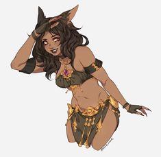 x_Female Catfolk Tabaxi Bard Dancer Black Anime Characters, Dnd Characters, Fantasy Characters, Female Characters, Female Character Design, Character Design Inspiration, Character Art, Character Ideas, Black Girl Art