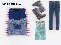 MiniBoden Back to School Look #7:  Navy Coastal Whale T-Shirt, Denim Slim Fit Jeans, Tall Leather Boots, Cozy Vest