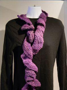 Purple scarf  violet scarf  ruffle scarf curly by JANSONESTOPSHOP, $28.00
