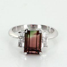 Watermelon Tourmaline Diamond 900 Platinum Vintage Ring Estate Fine Pre Owned Jewelry 6.75