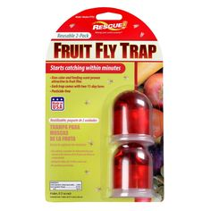 Starts working in minutes, Controls a fruit fly problem in 4 days, All natural attractant, Attractant lasts 30 days, Uses feeding lure and color to trap fruit flies, 2 count.