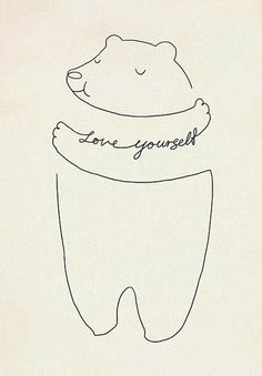 love yourself. Bear embracing him self. Thin line illustration.