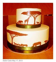 Safari baby shower cake (zebra sponge & praline chocolate mousse, vanilla buttercream) @ Public House, Venetian Hotel, Las Vegas