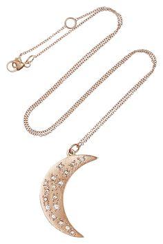 Brooke Gregson|14-karat rose gold diamond crescent moon necklace