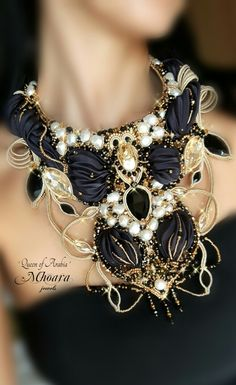Necklace  'Queen of Arabia'  shibori silk , soutache , bead embroidery by Mhoara…
